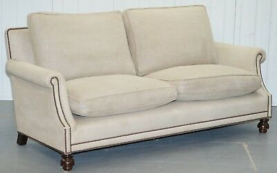 Rrp £9000 George Smith Arran Three Seater Sofa Feather Filled Cushions Stamped