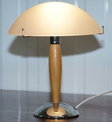 Cool Mid Century Modern Style Table Lamp With Opalescent Shade Chrome & Wood