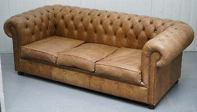 Vintage Heritage Leather Chesterfield Aged Brown Sofabed With Large Double Bed