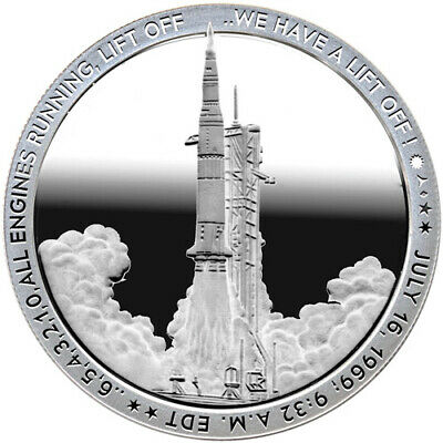 Apollo 11 Liftoff 1 Ounce .999 Silver Round - Proof-Like - 1st in Series!