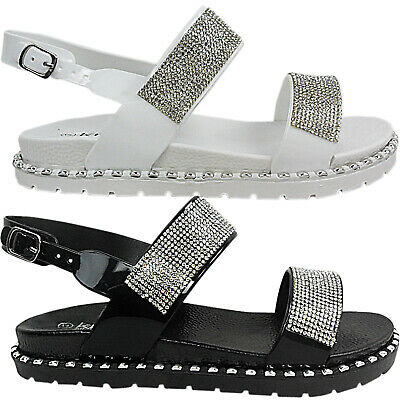 Womens Ladies Flat Studded Diamante Straps Open Toe Summer Sandals Shoes Size