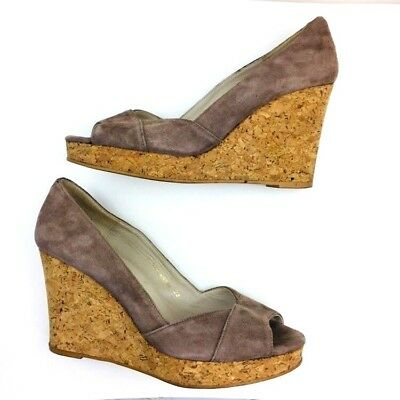 5d3f96d43fdb70 Boden Heels womens size 8 Beige Brown Leather Suede Cork Wedge Peep Toe  Shoes