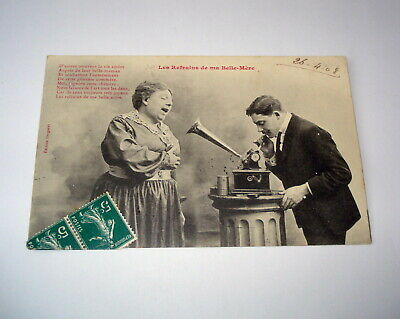 1908 RPPC Real Photo Postcard Man & Woman Phonograph