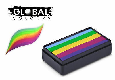 Global Colours 30g Perth Fun Stroke Rainbow Cake, Professional Face paint