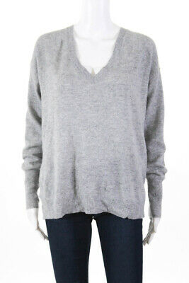 9d1e736a2a4 JCP Womens Cashmere Long Sleeve V-Neck Sweater Heather Gray Size Large  LL19LL