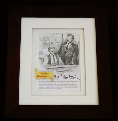 Disneyland Sam McKim Autograph Signature w/ Walt Disney & Map PIN Framed