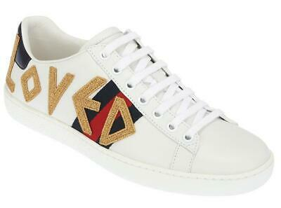 8ed8c5be1d743 New Gucci Ladies Ace Loved White Leather Web Low Top Sneakers Shoes 40 us 10