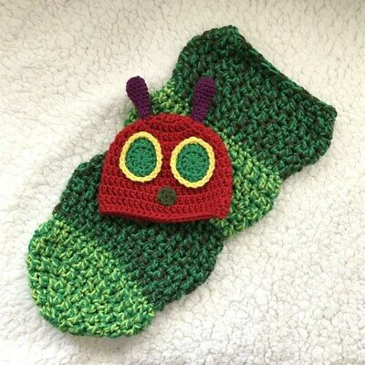 Crochet Hungry Caterpillar inspired Cocoon and Hat ,Photo Prop Newborn