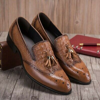 da0f8c3e900 Hot Men s Real Leather Dress Formal Borgues Shoes Loafers Slip On Black  Brown