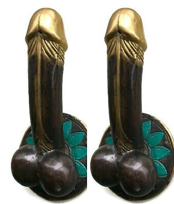 "2 PENIS shape DOOR PULL or HOOK hand made solid brass 9 "" handle heavy pair  B"