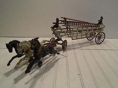 Hubley Horse Drawn Fire Truck - Vintage Ives Cast Iron Ladder Wagon Early 1900s