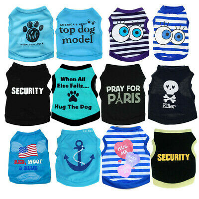 Boy Dog Cat Vest Clothes Apparel Pet Puppy T-Shirt Extra Small Medium Costume