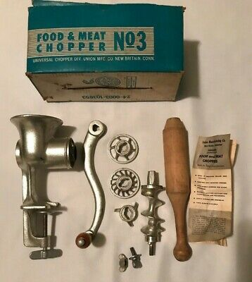 Vintage No. 3 Universal Food Chopper Meat Grinder W Attachments & Manual