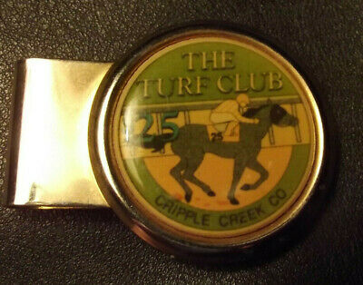 Cripple Creek Turf Club Money Clip w/$25 Casino Chip Free Shipping NoReserve