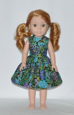 Purple Blue Floral Doll Dress Clothes Fits American Girl Wellie Wisher Dolls