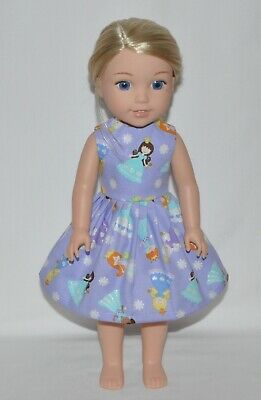 Lavender Princess Doll Dress Clothes Fits American Girl Wellie Wisher Dolls