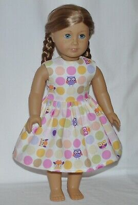 White Poka Dot Owl Doll Dress Clothes Fits American Girl Dolls