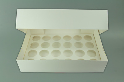Cupcake Box White Plain Holds 24 Cup Cakes - 4inch deep