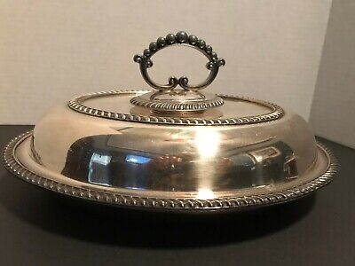 Antique English Silver-plated Covered Oval Serving Dish - Hallmarked