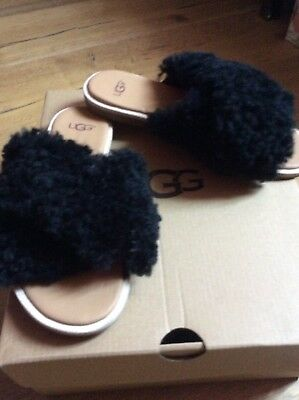 833582d06c0 UGG JONI FURRY Slide Sandal Black Size 5.5 New