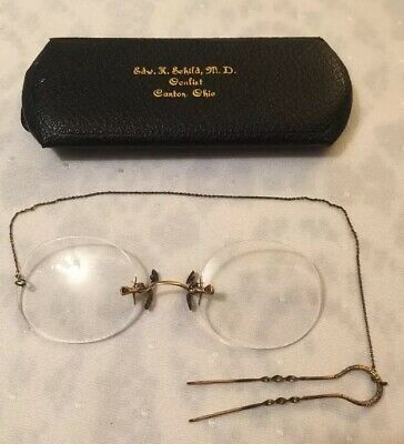 5232f3967f9 ANTIQUE PINCE NEZ EYEGLASSES HAIR PIN CHAIN VICTORIAN GLASSES Oculist Case