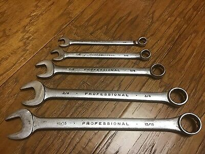 Vintage Proto Professional 5 Pc 12 pt. Combination Box Open End Wrench Set  USA