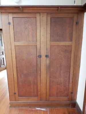 CUPBOARD DOORS X 2 - PAIR OF VINTAGE TIMBER CUPBOARD DOORS, Now Removed, 9c