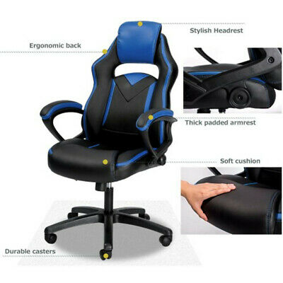 Office Computer Gaming Chair Ergonomic Racing Style High Back Swivel Chair Blue