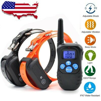 Pet Dog Training Shock Collar Waterproof Rechargeable Remote Control 330 Yard