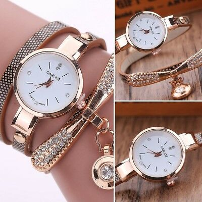 New Fashion Women Ladies PU Leather Rhinestone Analog Quartz Wrist Watches