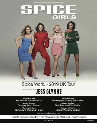 The Spice Girls 2019 Spiceworld Uk Tour Reunion Promo Poster