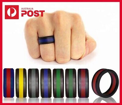 Mens Silicone Active Wedding Ring Comfortable Rubber for Work Gym Spa Sport