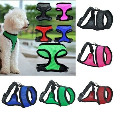 NEW Soft Mesh Fabric Dog Puppy Pet Adjustable Harness   Lead Leash with Clip