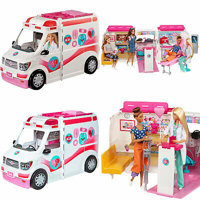 Barbie Care Clinic Van Large Rescue Vehicle Dolls Accessories Playset Kids Girls