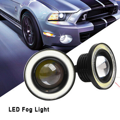 2 PCS COB 3.5 inch Driving Projector LED Fog Lights Lamps Halo Angel Eyes Rings