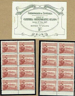 """Australia 1927 Canberra """"exploded"""" Booklet intact panes base of sheet unmounted"""