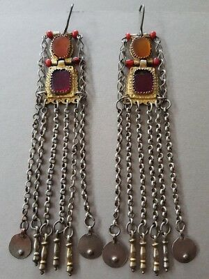 SUPERB & UNIQUE ANTIQUE Ottoman silver earrings - jewelry with corneols gilding