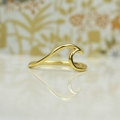 14k Gold Plated Sterling Silver Wave Ring