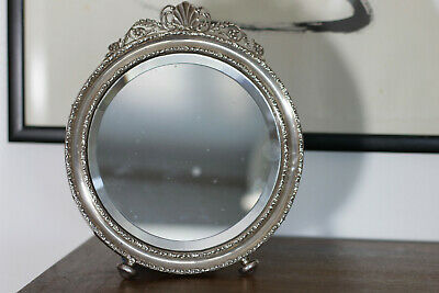 Antique 1910 Sterling Silver Pedestal Mirror Frame Classical Style Henry Mathews