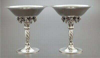 Pair Of Georg Jensen Danish Sterling Silver Grapevine Patter Compotes Bowls