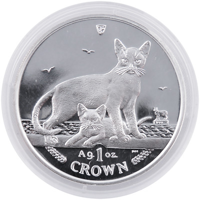 2010 Proof Isle of Man 1oz Silver Abyssinian Cat in Capsule