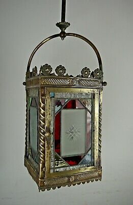 Antique Victorian LGE Stained Glass & Brass Hall Lantern Light Lamp Shade 19thC