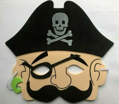 Boy Pirate Foam Eye Face Mask Moustache Childrens Birthday Party Fancy Dress