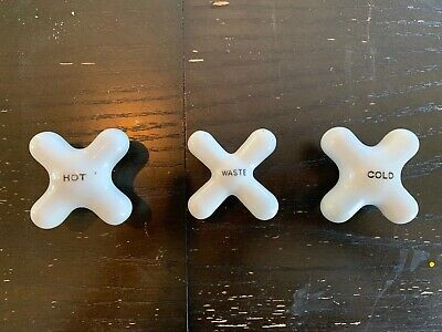 Vintage 3 Pc Set White Porcelain Bath Handles Fixtures Knobs