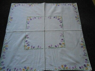 Beautiful Very Good Quality Vintage Cotton Hand Embroidered Tablecloth