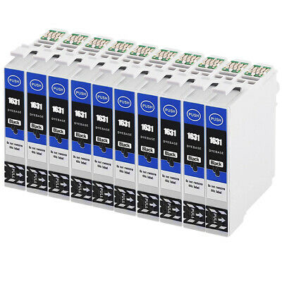 10 BK Ink Cartridges for Epson Workforce WF-2010W WF-2520NF WF-2630WF WF-2750DWF