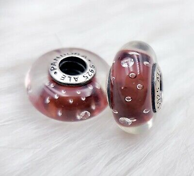 2 Authentic   Pandora silver 925 ALE Fascinating Purple  Charm Beads