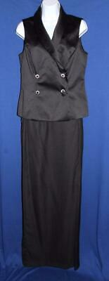 Ladies Bill Levkoff Long Black Crepe Skirt w/ Double Breasted Satin Vest Size 12