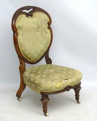 Antique Georgian heart shape back salon or bedroom chair for upholstery