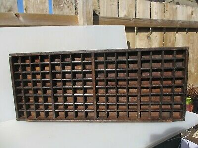 Vintage Wooden Printers Drawer Storage Tray Compartments Antique Old Wood Rustic